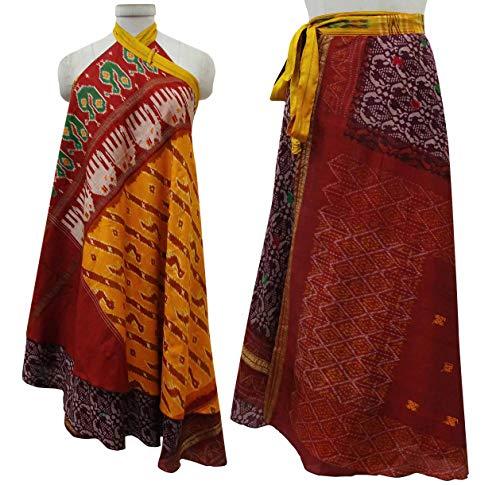 Imprimer Summer Soie Pure Rouge Beach Wrap Indianbeautifulart Multicolore Vintage Saree Les Check Femmes rversible Dress 4AqxUtw