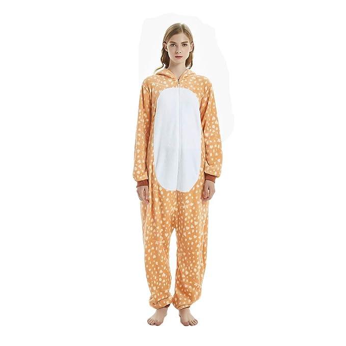 BOYANN Unisex Adulto Franela Pijamas de una Pieza Ciervo Ropa de Dormir Pijama Cosplay