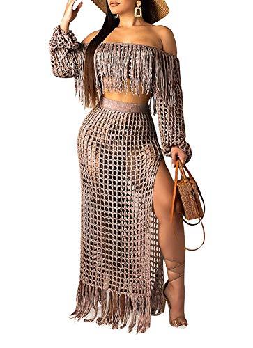 Ophestin Women Off Shoulder Long Sleeve See Through Lace Crop Top Tassel Split Two-Piece Maxi Long Skirts Dress Set Coffee M