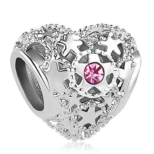 Cherris Birthday Charms Heart Love Birthstone Charms Beads for Snake Chain Bracelets (October)