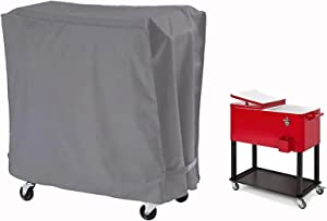 Cooler Cover Universal Waterproof Durable Rolling Cooler Patio ,Fits Most 80 Quart Rolling Cooler Cart Cover, Outdoor Beverage Cart, Patio Ice Chest Protective Covers (Grey)