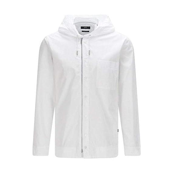 72e839a7f BOSS Hugo Over Shirt Hooded Jacket Lenard Mens White Large: Amazon.co.uk:  Clothing