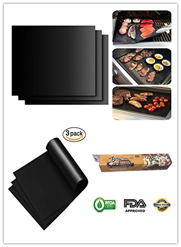 "QL cangaroo 100% Non-stick BBQ Grill & Baking Mats, Reusable Grilling Mats , Easy to Clean,Works on Gas, Charcoal, Electric Grill and More  15.75"" x13""in"