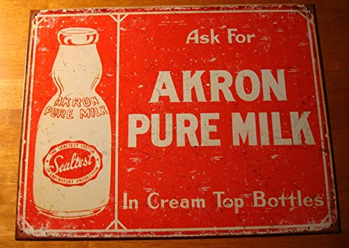 Pure Milk Cream Top Bottles Rustic Dairy Advertising Kitchen Sign Decor