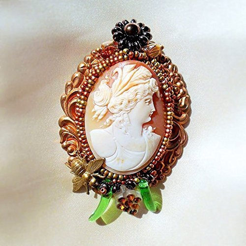(Museum Quality Cameo of Demeter, Goddess of Harvest, Hand Carved Shell Cameo Brooch/Pendant On Art Nouveau Copper Setting with Grapes & Bee Necklace. One of a Kind!)
