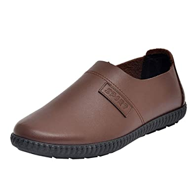 GongzhuMM Vintage Mocassins Homme Automne Hiver Chaussures de Ville  d affaires Chaussures en Cuir sans a923a55fa1e7