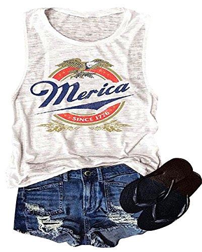 (Erxvxp Women Tank Tops Sleeveless Merica Since 1776 Racerback T-Shirt Vest for Independence Day (White, Medium))