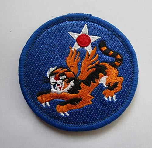 World War II Flying Tigers 14th Army Air Force Squadron WWII Fighter Military Patch Fabric Embroidered Badges Patch Tactical Stickers for Clothes with Hook & Loop - Army Patches Wwii