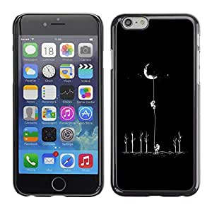 Soft Silicone Rubber Case Hard Cover Protective Accessory Compatible with Apple iPhone? 6 (4.7 Inch) - moon astronaut minimalist space