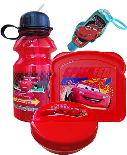 Disney Cars 3 Piece Lunch Set with Handy Clip-on Hand Sanitizer Includes Zak Hydro Canteen , Sandwich and Snack Container