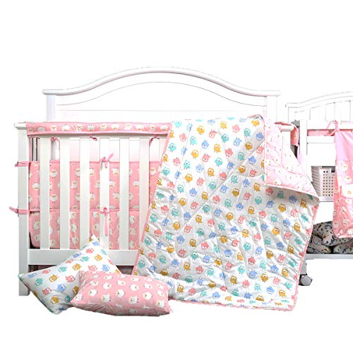 UOMNY 4 Piece Baby Bedding Set - Includes Quilted Baby Blanket, Crib Sheet, 2 Pack Pillow Cases Owl Kids Toddler Bedding Set (Owl Bedding Toddler)