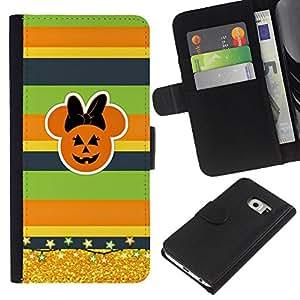 BearCase / Cuero de la tarjeta la carpeta del tirón Smartphone Slots Protección Holder /// Samsung Galaxy S6 EDGE /// Calabaza Otoño de Oro
