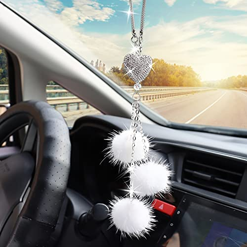 Car Bling Rear View Mirror Hanging Accessories for Women & Men, Rhinestones Diamond Love Heart and White Plush Ball Crystal Sun Catcher Lucky Ornament Chain, Car Chandelier, Bling Car Charm (White)