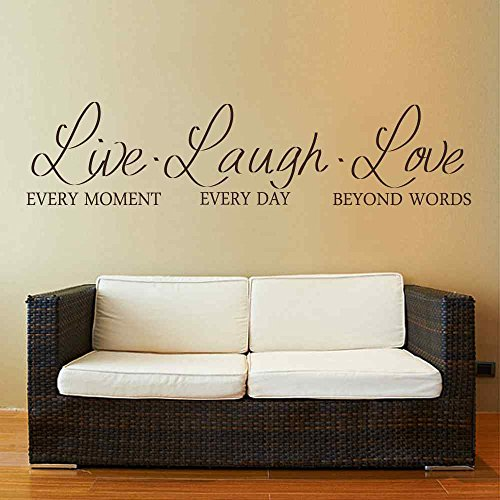BATTOO Live Laugh Love Wall Decal Vinyl Sticker Quote Art Living Room Dining Room D¨¦cor(Black, 8