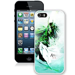 5S case,Assassins Creed Graphics Background Green Light White iPhone 5s cover
