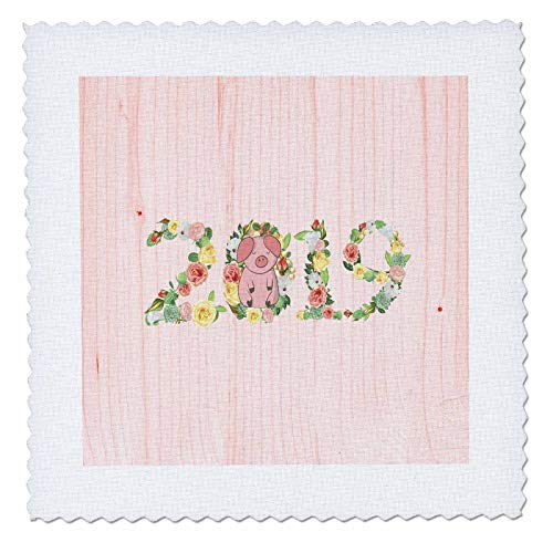 3dRose Beverly Turner Chinese New Year Design - Flowered 2019 with Pink Pig on Zero, Pink Wood Look, Chinese New Year - 10x10 inch Quilt Square (qs_287013_1) (Flowered Pig)