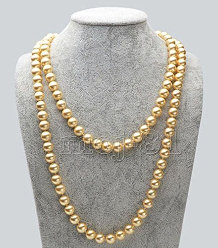 - 8MM Genuine Yellow South Sea Shell Pearl Round Beads Necklace 51'' Long AAA