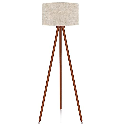 size 40 eba78 62386 LEPOWER Tripod Floor Lamp, Mid Century Modern Standing Light, E26 Lamp  Base, Flaxen Lamp Shade, Wood Floor Reading Lamp for Living Room, Bedroom,  ...