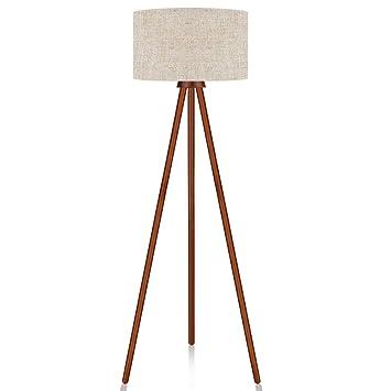 Lepower Wood Tripod Floor Lamp Modern Design Nature Rubber Wood