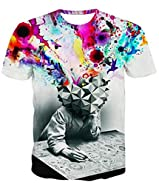 Uideazone Men's Fashion 3D Creative Graffiti Print Hip Hop Style T-Shirts