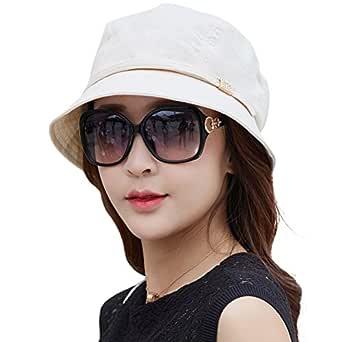 Siggi Womens UPF50+ Summer Sunhat Bucket Packable Wide Brim Hats w/Chin Cord - Beige - One Size