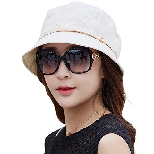 Siggi Womens Summer Bucket Foldable Sun Hat SPF50+ Brim Sunhats w/Chin Cord Beige ()