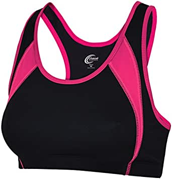 Chassé Womens' Performance C-Fuse Sports Bra Black/Bright Pink Adult X-Small
