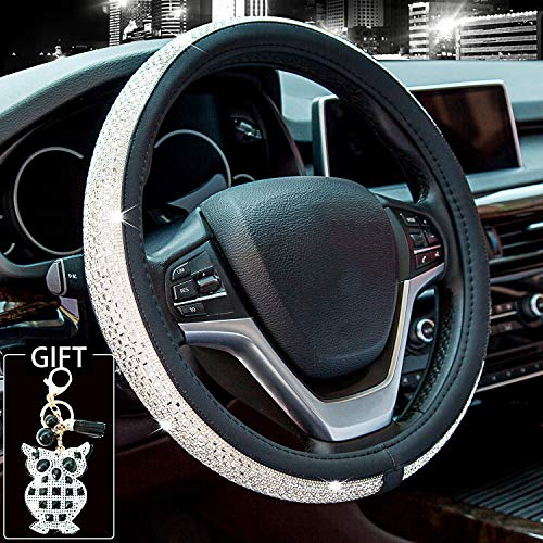 Didida Bling Steering Wheel Cover for Men Women Diamond Crystal Rhinestones Shiny Universal 15 Inch Send with Owl Keychain (White)