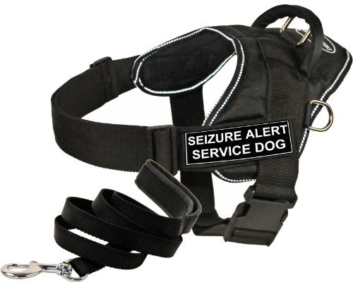 Dean & Tyler DT Fun Works Harness 6-Feet Padded Puppy Leash, Seizure Alert Service Dog, X-Large, Black