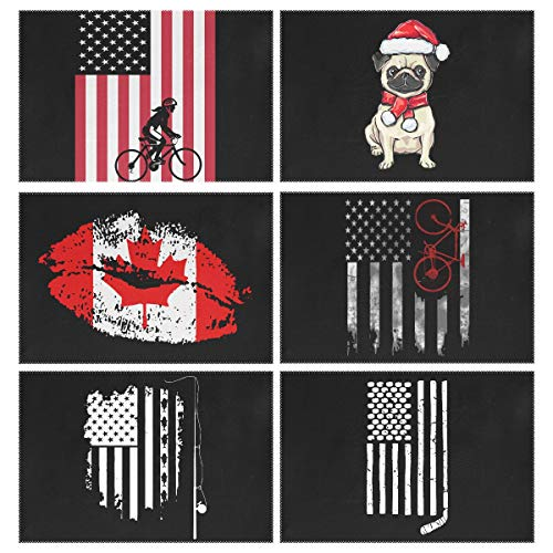 YOULUCK-7 Placemats Set of 6, Hockey Stick and Pucks American Flag Christmas Pug Dog Santa Hat Cycling On The Canada Lips Kiss Bicycle Fishing Angle Dining Table Mats for Home Kitchen Office