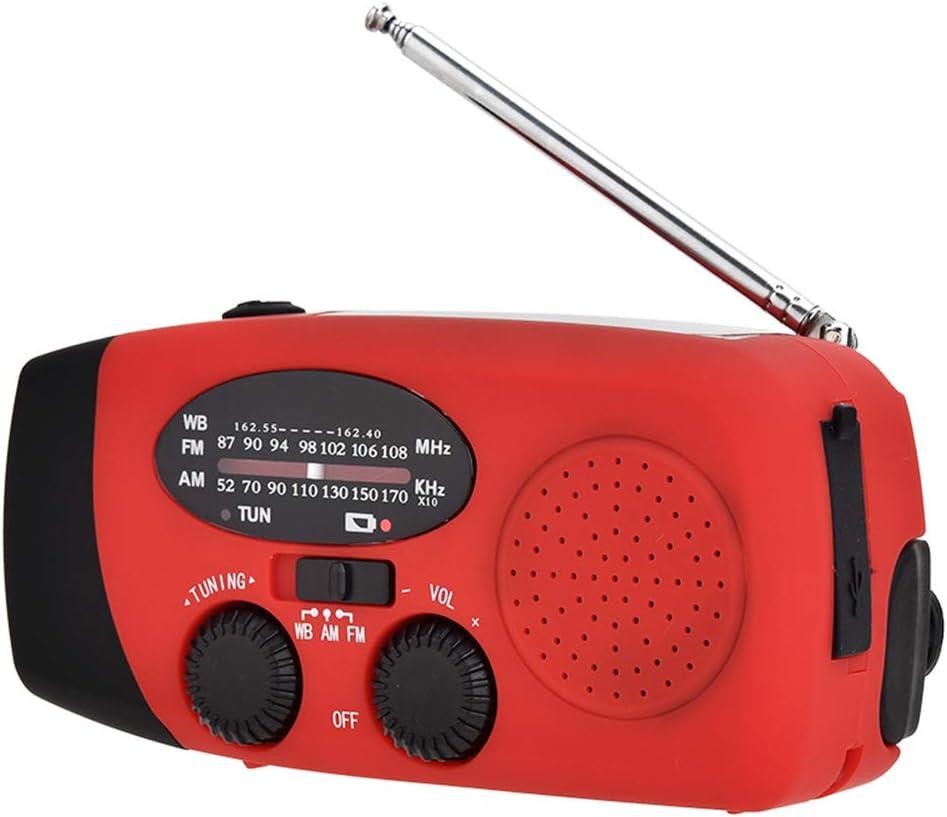 torcia elettrica e luce di lettura Welltop FM NOAA Portatile Radio a Manovella con power bank da 2000 mAh jack per cuffie da 3,5 mm allarme SOS per escursionismo in campeggio