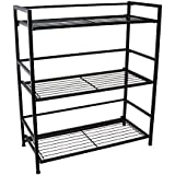 Flipshelf-Folding Metal Bookcase-Small Space Solution-No Assembly-Home, Kitchen, Bathroom And Office Shelving-Black, 3 Shelves, Wide