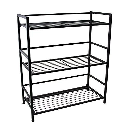 Flipshelf-Folding Metal Bookcase-Small Space Solution-No Assembly-Home, Kitchen, Bathroom and Office Shelving-Black, 3 Shelves, Wide by Flipshelf
