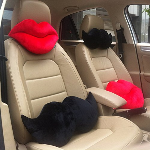 A.B Crew 2 PCS Creative Car Headrest Head Cushion Plush Neck Pillow(Lip+Beard)