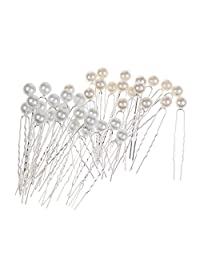 MagiDeal 40 Pieces/ Lot Faux Pearl Hair U Shaped Pins Clips Bridesmaids Fancy Jewelry Decorations