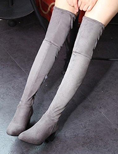 Aisun Womens Coole Comfort Puntige Zijrits Back Lace Up Jurkblok Medium Hak Overknee Hoge Laarsschoenen Grijs