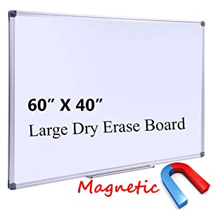 "Large 60 x 40-in Magnetic Dry Erase Board with Pen Tray| Wall-Mounted Aluminum Message Presentation Memo White Board for Office Home and School (60"" x 40"")"