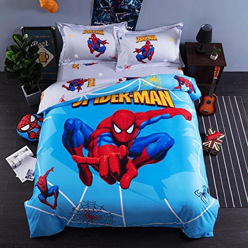 EVDAY 3D Cartoon Spider-Man Bedding for Boys 100% Cotton Marvel Bedding for Kids Including 1Duvet Cover,1Flat Sheet,2Pillowcases Queen Full Twin Size