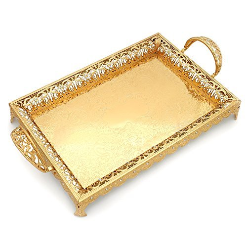 Decorative Serving Trays with Handles and Legs for Parties, XINFANGXIU Gold Metal Serve Tray Centerpiece Decorated with Lace Rim and Crystals Rectangular Large Unique for Wedding Coffee Table Restaura