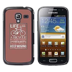 YOYOYO Smartphone Protección Defender Duro Negro Funda Imagen Diseño Carcasa Tapa Case Skin Cover Para Samsung Galaxy Ace 2 I8160 Ace II X S7560M - la vida de la bicicleta poster inconformista mantenerse en movimiento