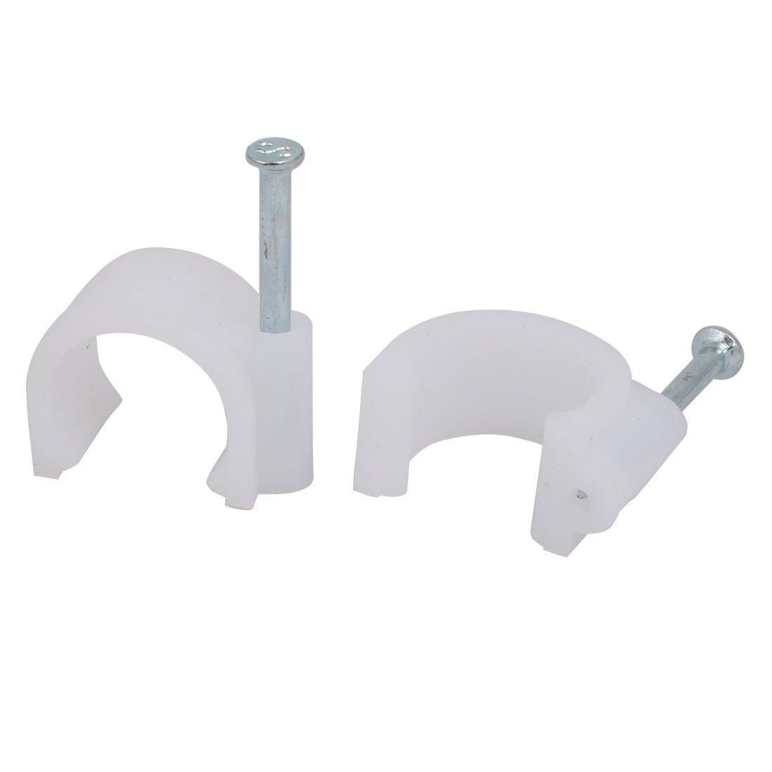 Clip de plástico PE en círculo para 20 mm de diámetro de cable clavos de acero de 35mm de largo 150 Piezas: Amazon.es: Bricolaje y herramientas