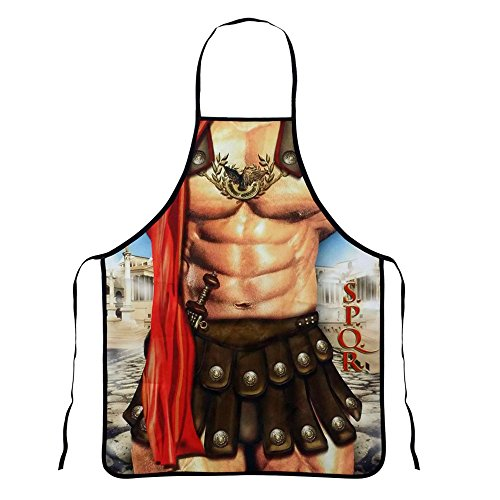 Mens Novelty Funny Apron,Creative Cooking Grilling Baking Aprons,Kitchen Apron for Men (Roman Soldiers)