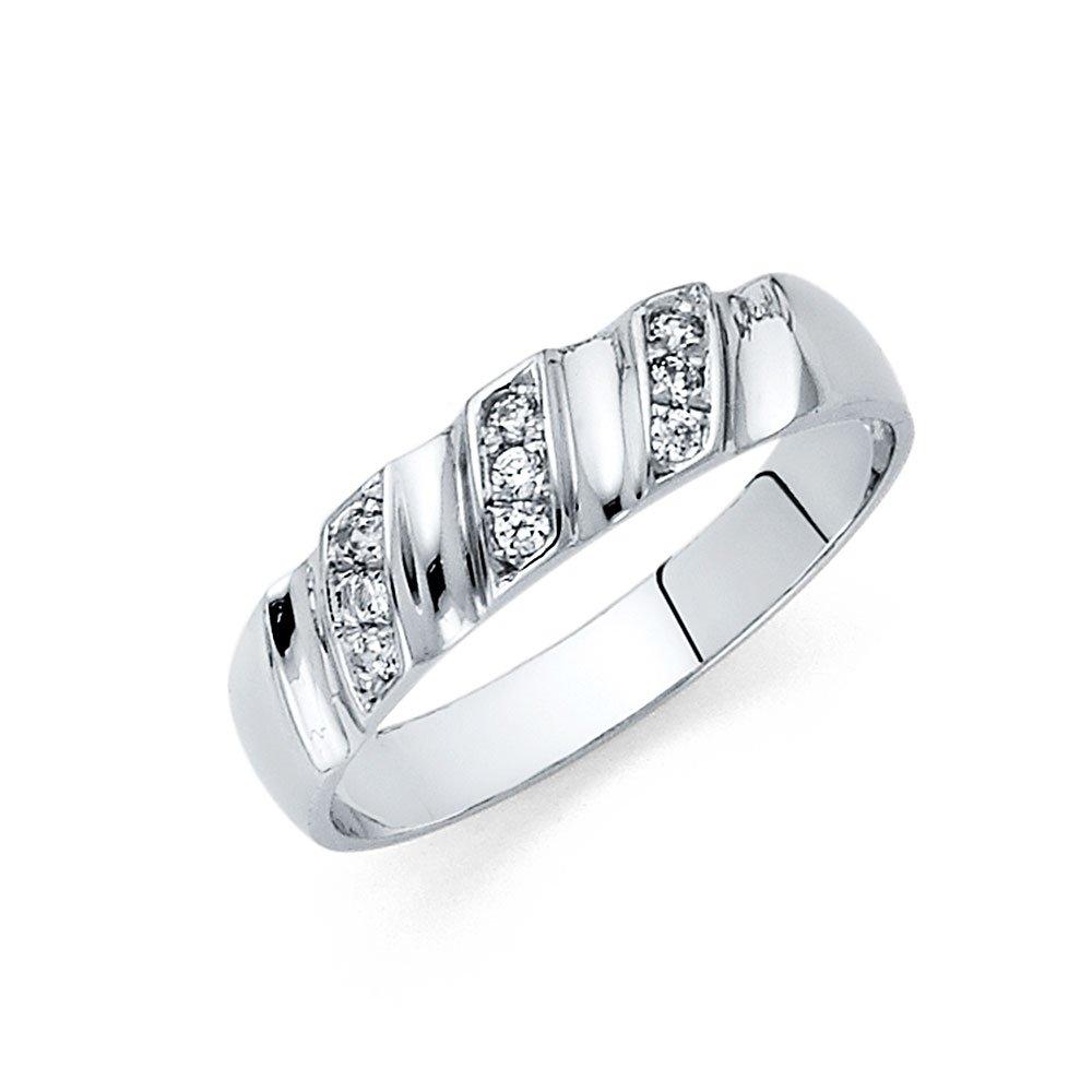 14k White Gold SOLID Men's Wedding Band - Size 9