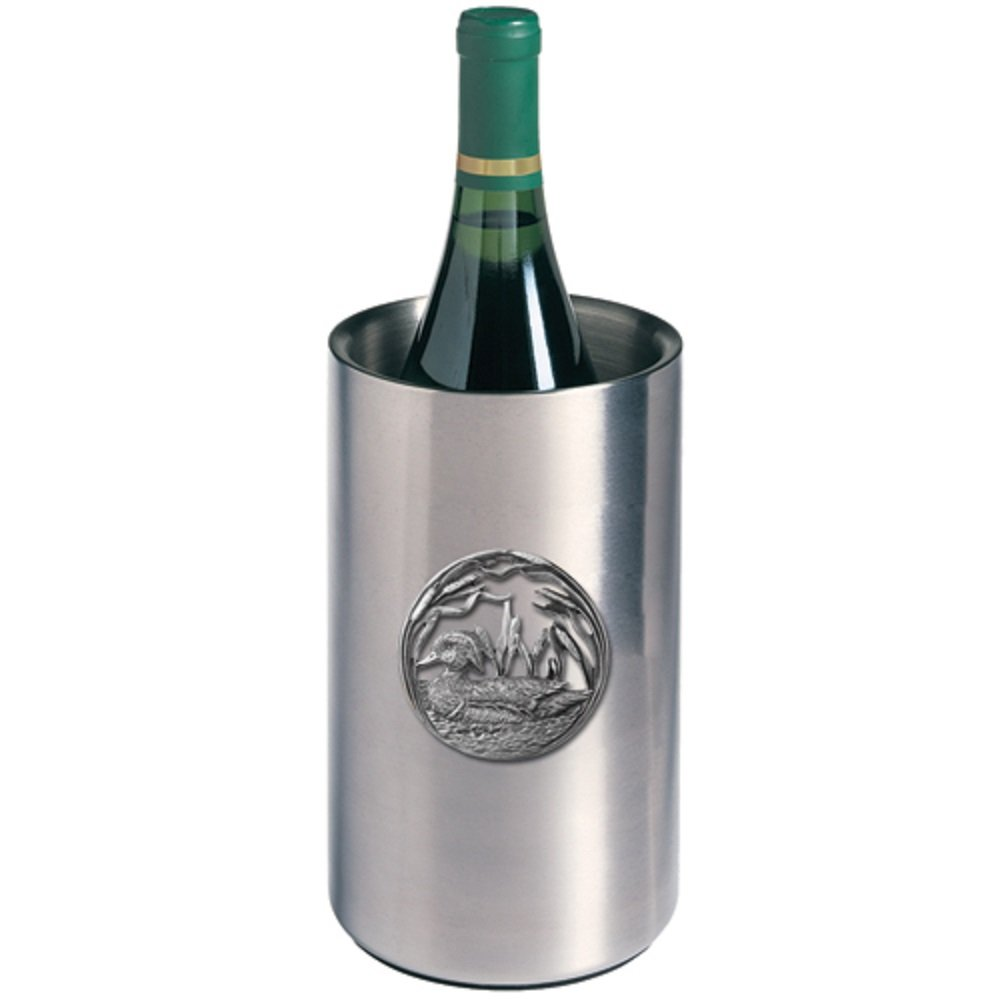 ANIMAL, WOOD DUCK WINE CHILLER, This is a wine chiller made of double-wall insulated stainless steel with a fine pewter logo medallion bonded to the front.