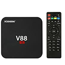 V88 Android TV Box 6.0, 4K 3D Smart TV Moving Box,1080P Media Blue-Ray Player, Quad Core EMMC 8GB, Built-in Wifi, Game Player for TV …