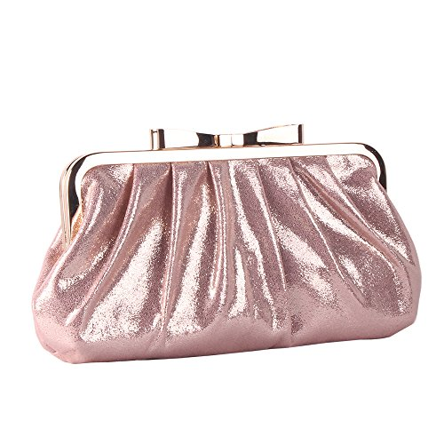 Pleated Bow Clutch - M10M15 Women's Sparkle Pink Ruffle Pleated Evening Clutch Purse Handbag with Metal Bow Frame for Party