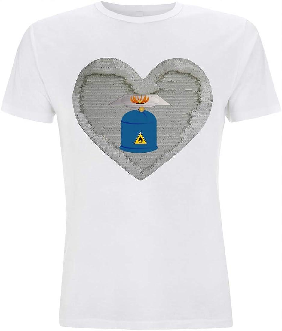 Camiseta Reversible con Lentejuelas, Quemador de Gas, Camping, Calentamiento, Fuego, Llama, Combustible, para Hombre, Mujer, niño y niña Blanco/Blanco S: Amazon.es: Ropa y accesorios