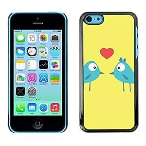 LASTONE PHONE CASE / Slim Protector Hard Shell Cover Case for Apple Iphone 5C / Birds Love Kiss Heart Lovers Blue Art Cartoon by ruishername