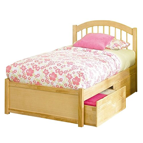 Atlantic Furniture Windsor Platform Bed with Flat Panel Footboard in Natural Maple - (Bedroom Maple Footboard)