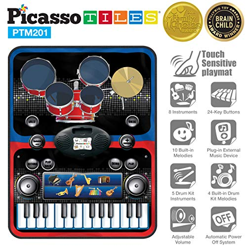 - PicassoTiles PTM201 Portable 2-in-1 Drum & Piano Combo Educational Musical Play Mat w/ 8 Musical Instruments, 5pcs Drum Set, 10 Demos, 24-Key Keyboard, Built-in Speaker, Record for Toddlers & Kids